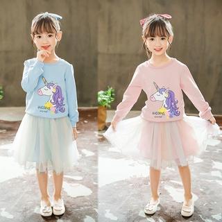Set Áo Thun Dài Tay & Váy Lưới Đáng Yêu Cho Bé Gái