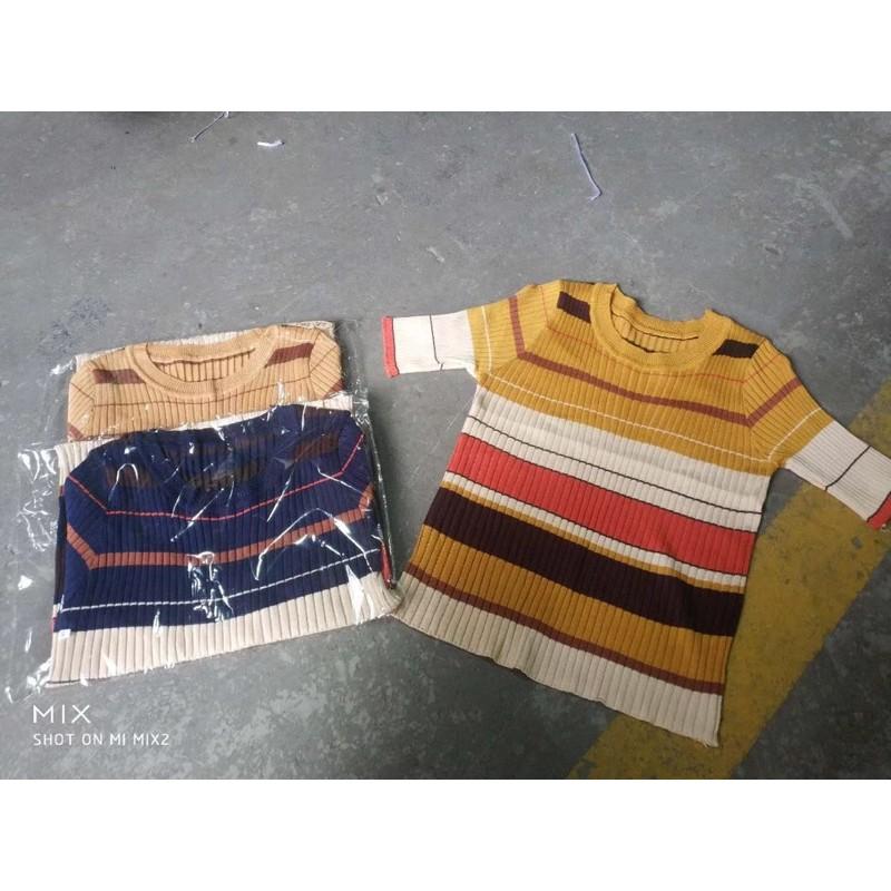 áo len mông cộc tay kẻ pha (1717#)