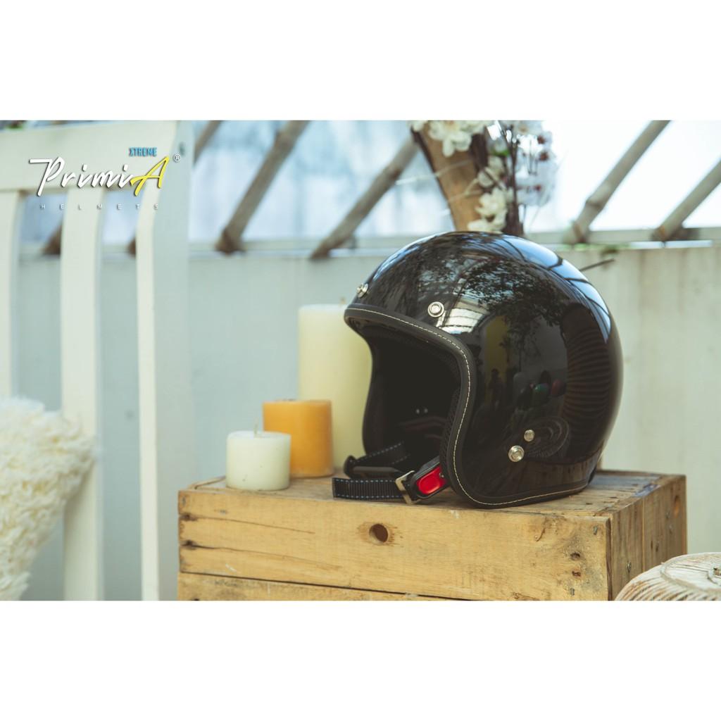 [HÀNG CAO CẤP - TẶNG KÍNH] Mũ Bảo Hiểm 3/4 PrimiA Đen Bóng - Mũ Bảo Hiểm Cao Cấp Phong Cách Cổ Điển