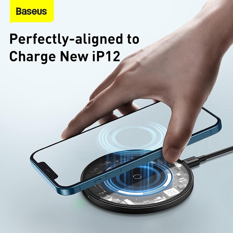 Đế Sạc Nhanh Từ Tính Không Dây Baseus 15W Iphone 12 / Airpods / Huawei / Samsung /Xiaomi
