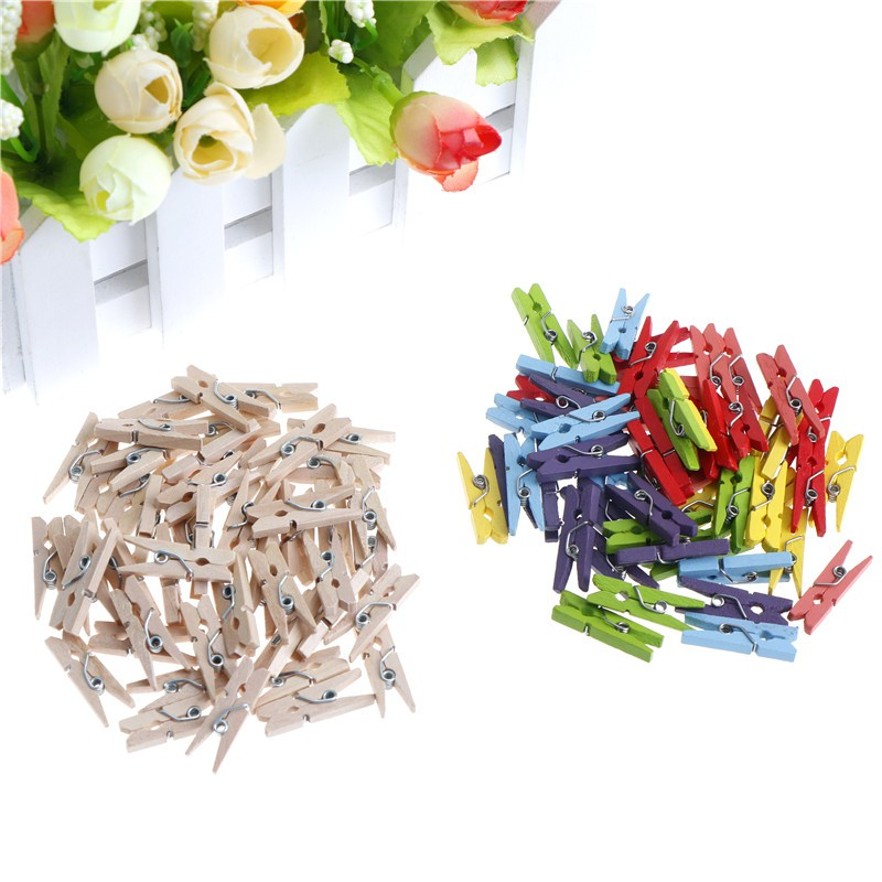 Specialhour 50PCS 25mm Mini Wooden Clips Photo Clips Clothespin Clips DIY Craft Home Decor