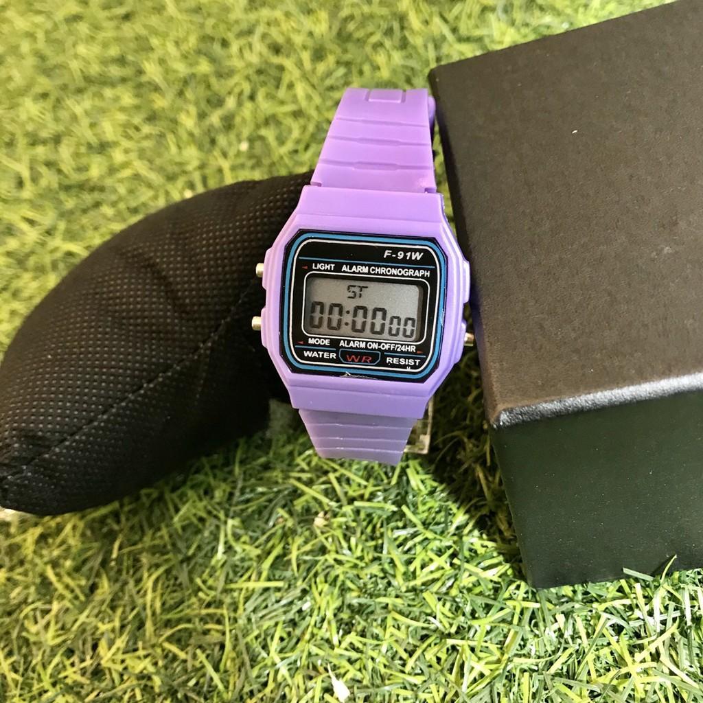 Đồng hồ điện tử unisex dây nhựa màu tím có báo thức MS9875