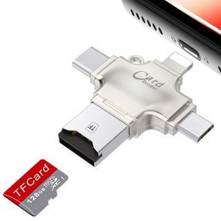 [Mã ELFLASH5 giảm 20K đơn 50K] Đầu đọc thẻ 4 in 1 OTG, USB, TYPE - C, IOS Card Reader