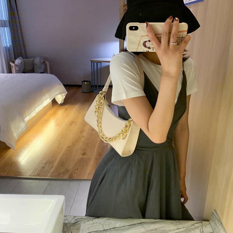 Túi kẹp nách Ngọc Trinh túi xách nữ đeo vai đeo chéo xách tay da vân cá sấu hàng 3 dây siêu hot mẫu mới nhất TKNA03