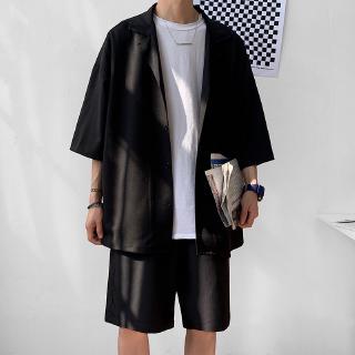 Bộ đồ 2 món gồm áo vest dáng rộng màu trơn + quần ngắn phong cách công sở Hàn Quốc cho nam