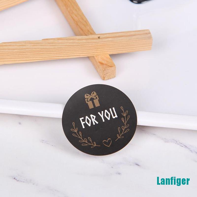 【Lanfiger】120pcs For you Seal Sticker Round Black Seal Sticker Package Labels for Baking