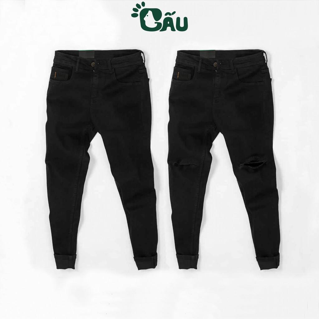 Quần jean nam đen Gấu 194 trơn & rách vải jeans bò cotton duck cao cấp mềm mịn, co dãn - form slim fit [có Bigsize]