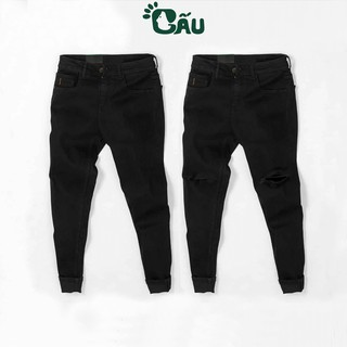 Quần jean nam đen Gấu 194 trơn & rách vải jeans bò cotton duck cao cấp mềm mịn, co dãn – form slim fit [có Bigsize]