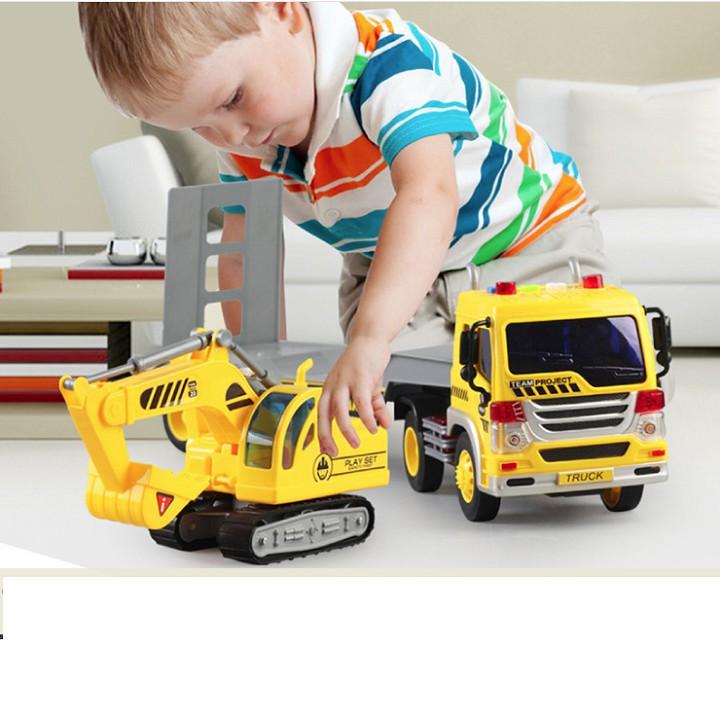 Bộ xe đầu kéo và cẩu xúc đồ chơi trẻ em tỉ lệ 1:16