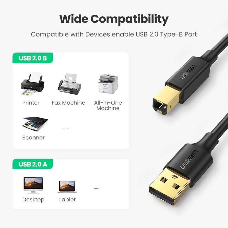 Cáp máy in Ugreen 10351 dài 3m chuẩn USB 2.0 cao cấp - HapuStore