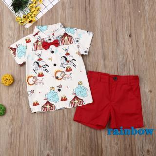 ➹-Baby Boys Gentleman Button-Down Short Sleeve Shirt + Solid Short Pants 2Pcs Outfits