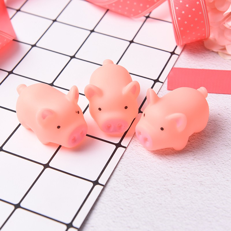 [@VN] 3Pcs Pink Pig Soft Animal Squishy Healing Squeeze Toy Gift Stress Reliever Decor