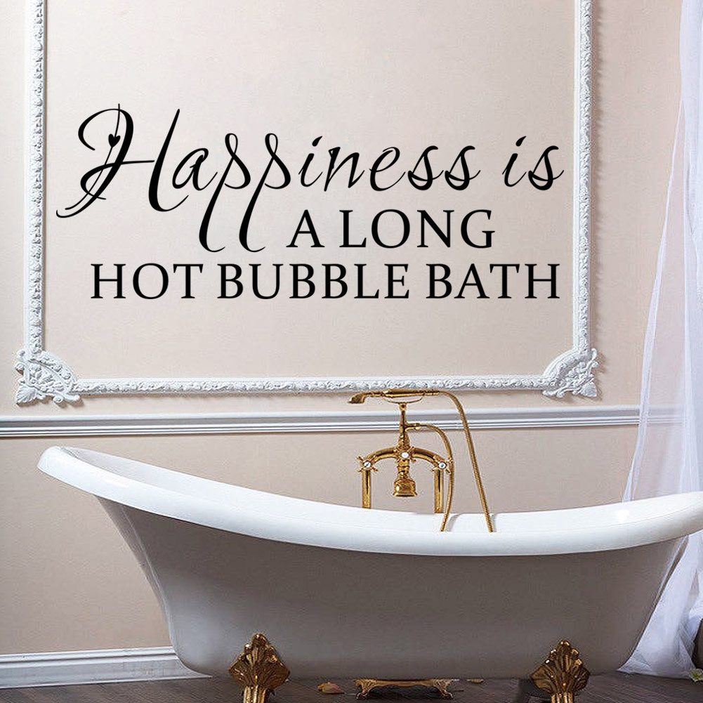Lettering Toilet PVC Waterproof Happiness Removable Background Bathroom Wall Sticker