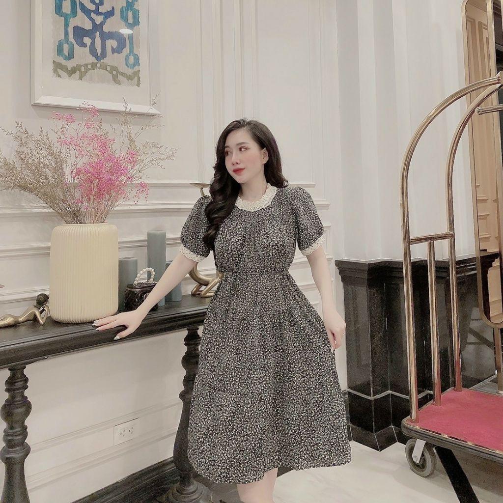 Mặc gì đẹp: Dễ chịu với Váy bầu hoa nhí - đầm bầu đẹp chất lụa hoa cổ ren tay cộc freesize tặng dây buôc BN34
