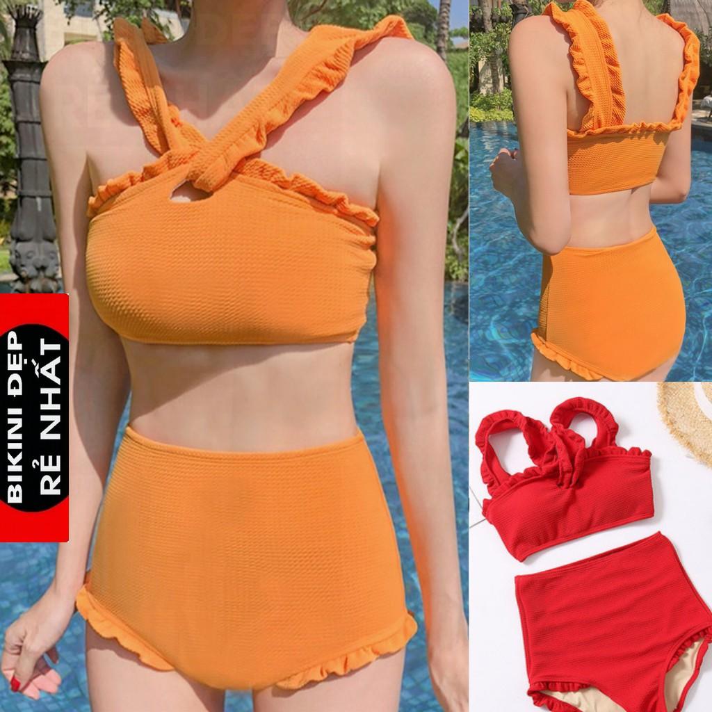 Bikini Đi Biển Cạp Cao Quảng Châu Hot Hit Trễ Vai Bánh Bèo