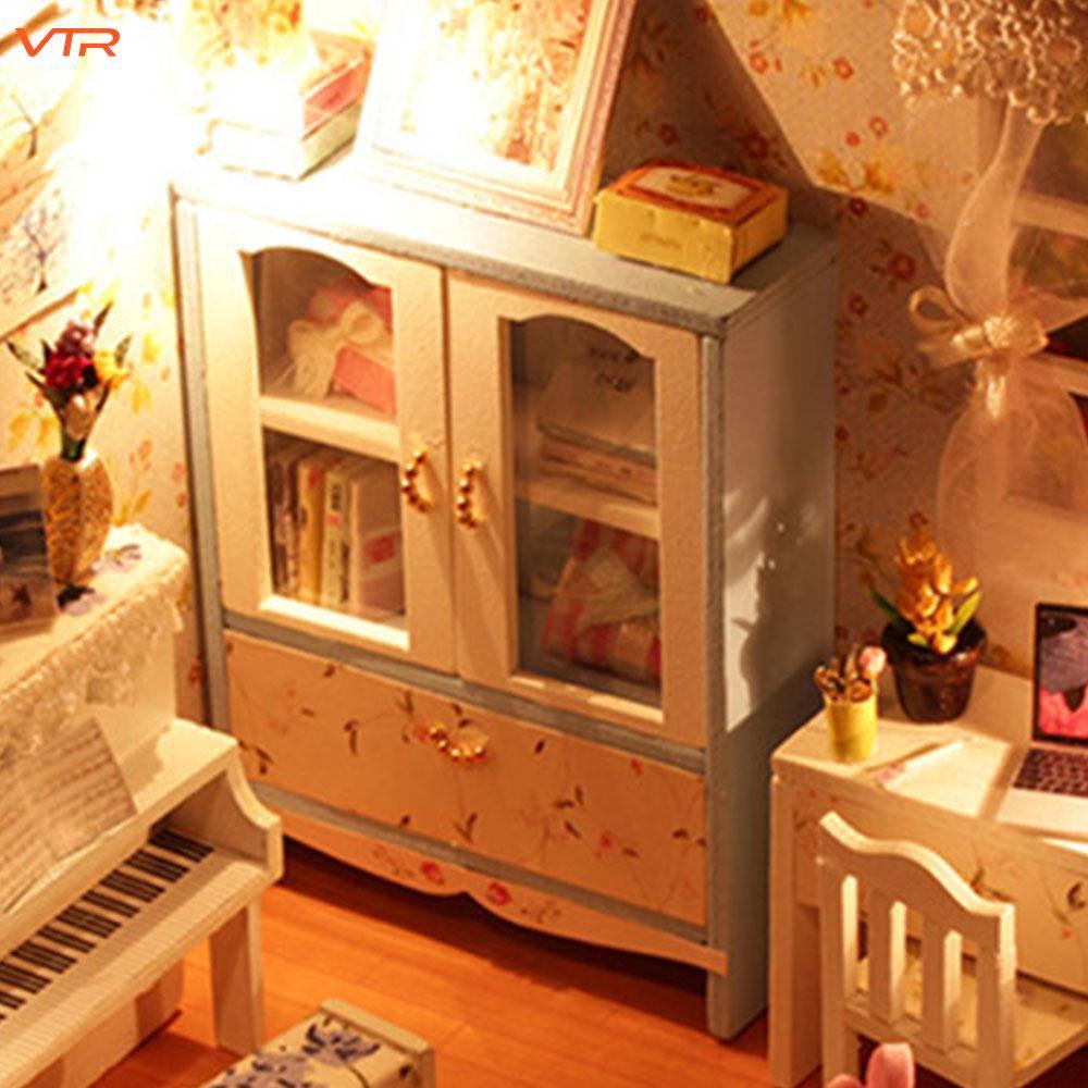 V Model Building Kits Doll House DIY Wood Dollhouse Gifts Piano Decor Living Girls Children