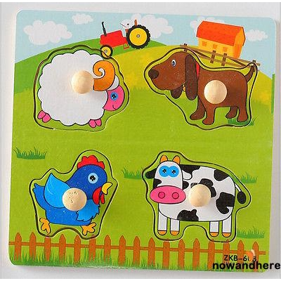 EHO-The Hotsale and New Toddler Newborn Infant Animal Cognize Wooden Colorful