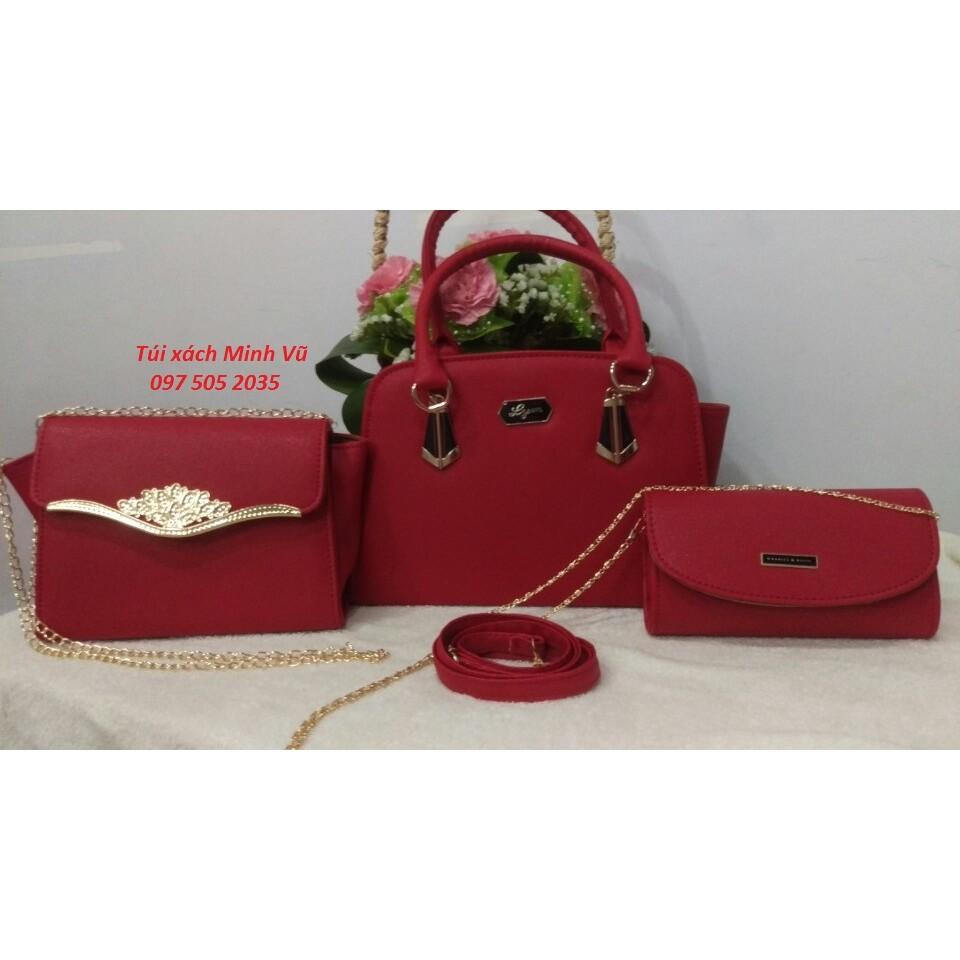 Túi xách nữ bộ 3 vương miện màu đỏ