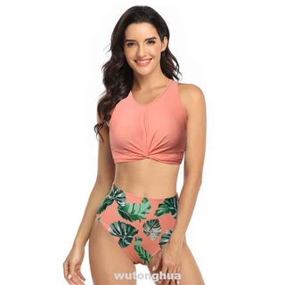 Wireless Soft High Waist Swimming Print Sleeveless Sexy With Padding Two Parts Women Swimsuit