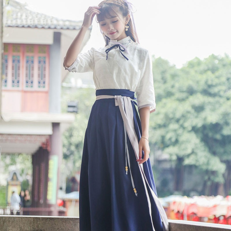 Hanfu female improvement summer fairy costume Chinese style suit student ancient style daily wear folk style retro women