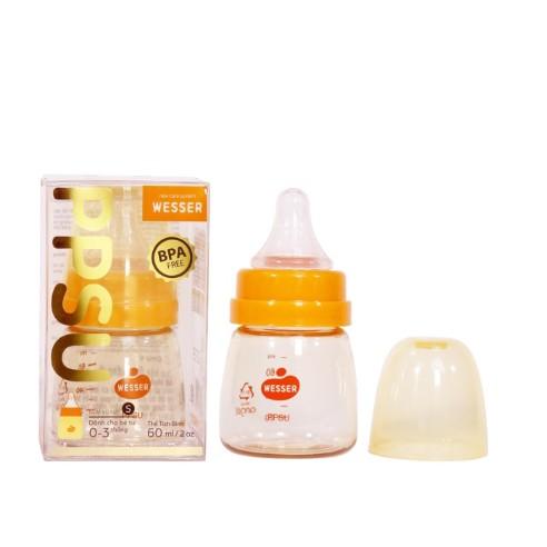 Bình sữa Wesser Cổ Hẹp Bình Sữa Trẻ Em Dung Tích 60ML/140ML/250ML Phiên Bảng Cao Cấp Nhựa PPSU