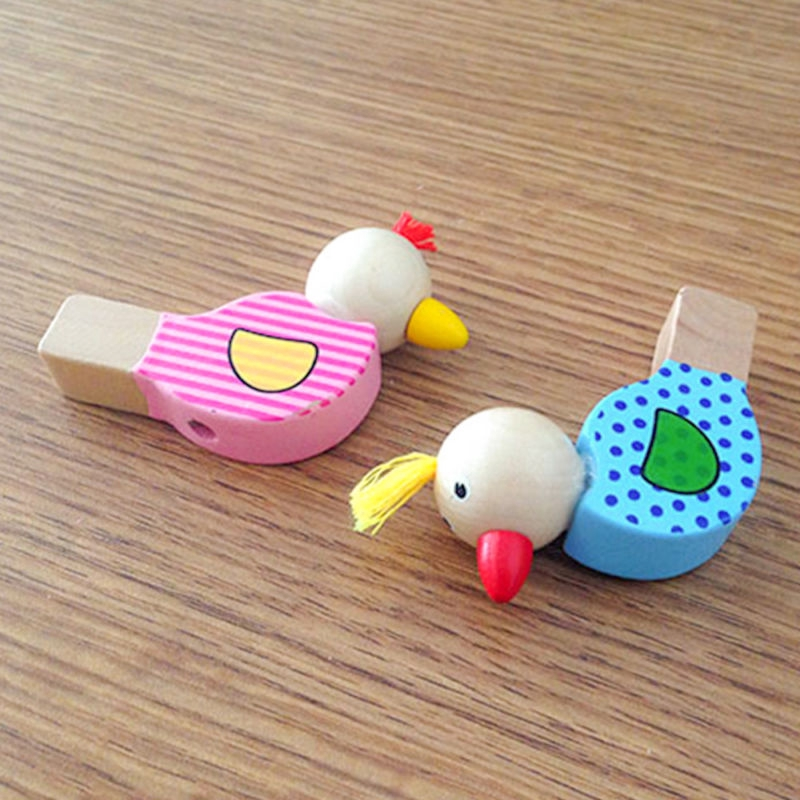 Higt Quality Cartoon Animal Wooden Birds Whistle Toys Kids Fun Sound Amusement