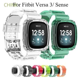 Bộ Vỏ Bọc Silicon Trong Suốt + Dây Đeo Cho Đồng Hồ Fitbit Versa 3 / Fitbit Sense