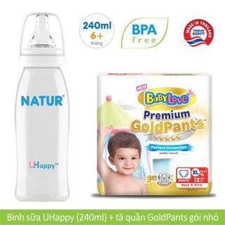Combo Bình sữa Natur Uhappy 240ml Tã quần Gold Patns S19 M17 L14 XL12 XXL10