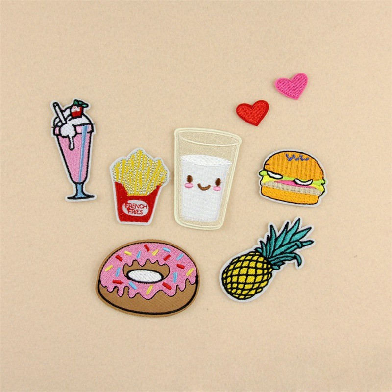 IE❤1 set Package Embroidery Iron On Patches Sewn Applique Cute Logo Food Uniform DIY Embroidered Patch Clothes