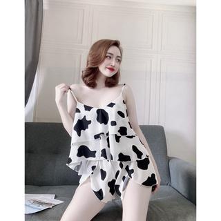 Bộ đồ ngủ hai dây họa tiết bò đơn giản- Quần áo mặc nhà nữ hàng cao cấp- Lụa Satin Pháp mềm mịn, thoáng mát thumbnail
