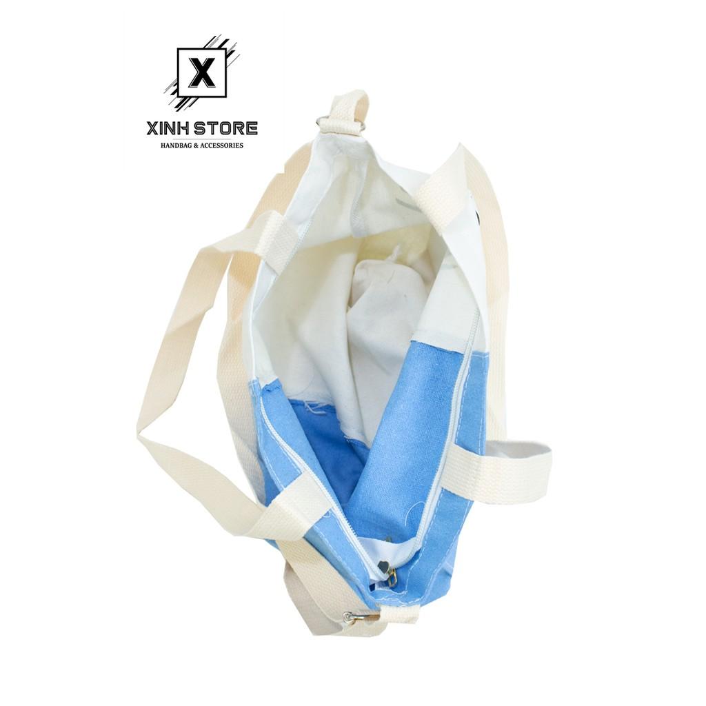 Túi Vải Tote Đeo Chéo 2 Màu Vải Canvas Cực Tốt