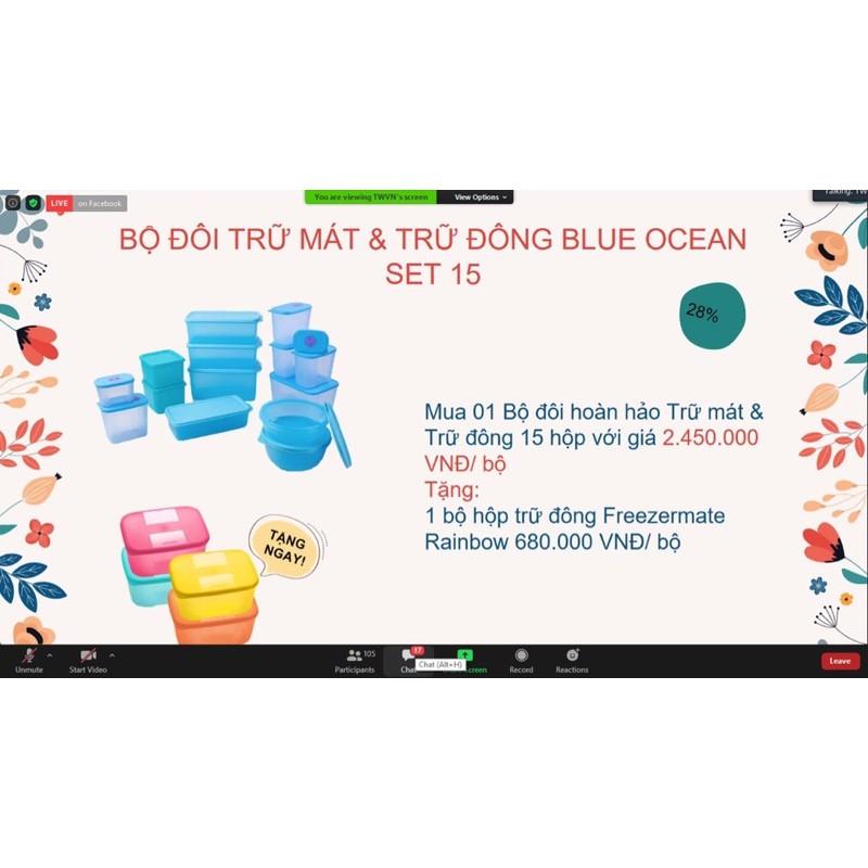 Blue ocean bộ trữ mát và trữ đông mega 15 + 4 đông 650ml tupperware