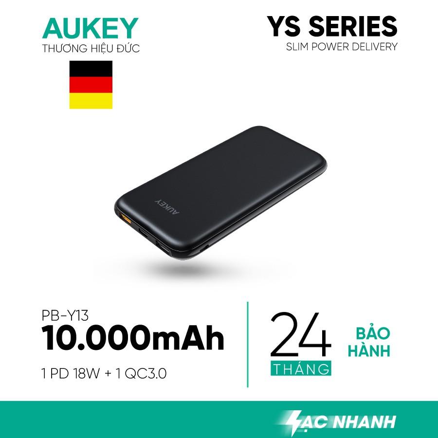 Pin Sạc Dự Phòng 10000mAh Aukey PB-Y13 Sạc nhanh QC 3.0 & Type C 18W - Hàng Chính Hãng