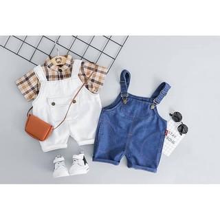 Set yếm jean bò kèm áo thô kẻ cổ trụ bé trai bé gái diện kute hết nấc Size từ 5 – 16kg [SB 01]