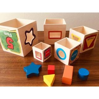 Đồ chơi kết hợp Lồng ghép to nhỏ – Học số – Thả hình khối- Mã LTN