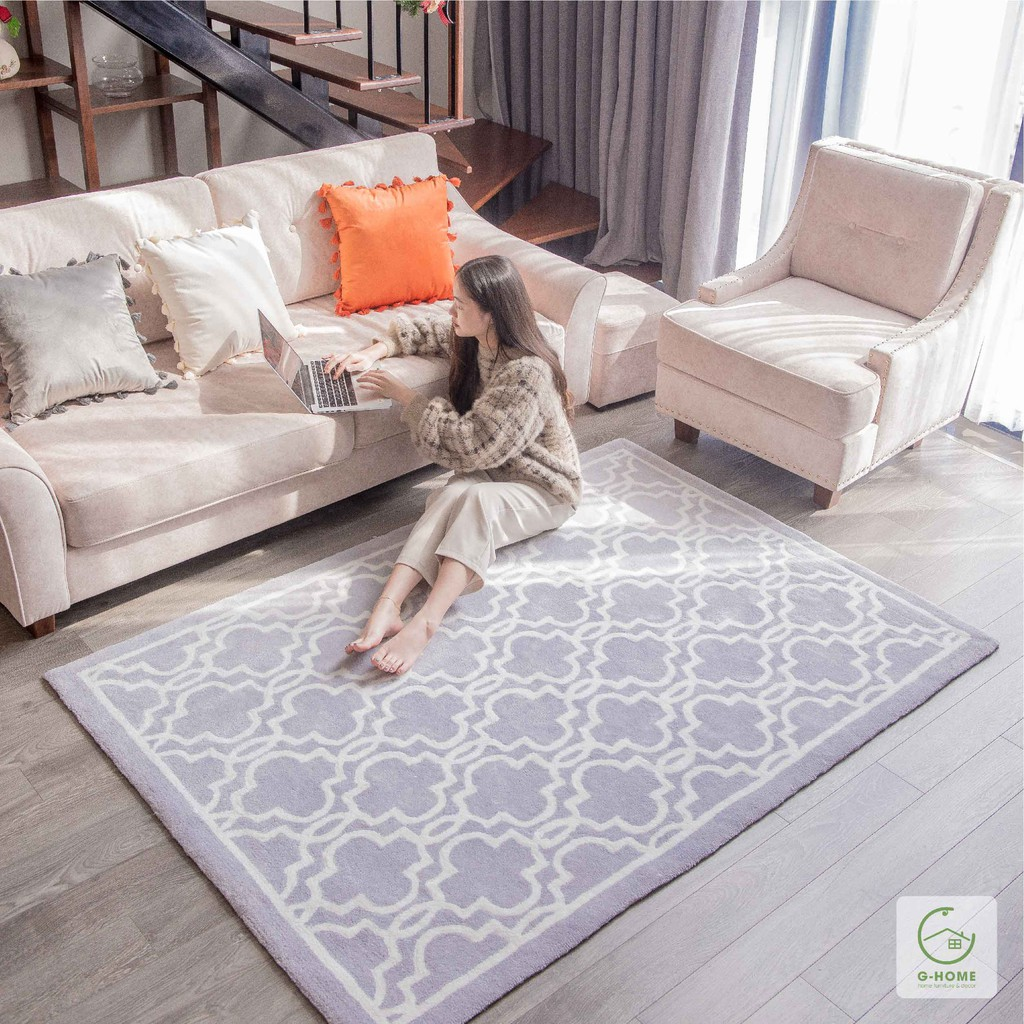 Thảm trải sàn thảm phòng khách sợi dệt thủ công siêu xịn mịn cho không gian phòng ngủ/phòng khách TSL04 Ghome decor