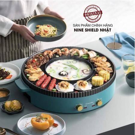 Bếp lẩu nướng điện đa năng 2 trong 1 Nine shield hàng cao cấp thiết kế ấn tượng với màu xanh ngọc sang trọng