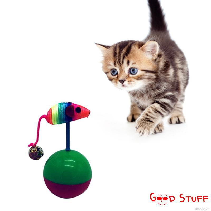 1Pcs Pet Ball Tumbler with Colorful Plush Mouse Tease Cat Rolling Toy with Bell