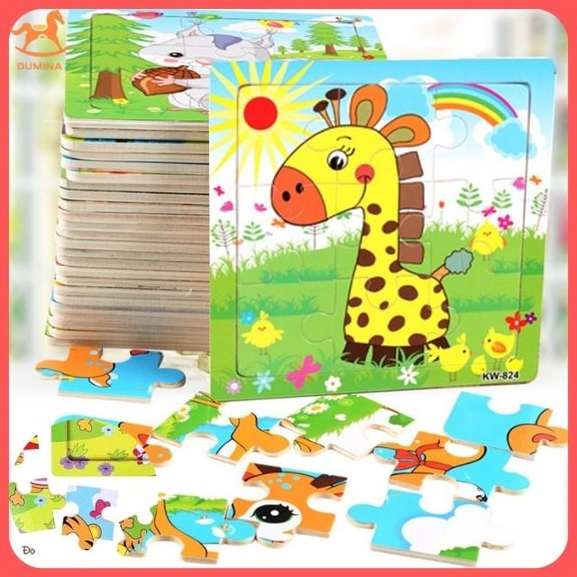 Ghép hình puzzle tranh ghép gỗ 9 mảnh xếp hình con vật, phương tiện cho bé