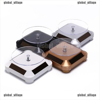 [global] solar power 360 rotating display stand turn table plate for jewelry watch [village]
