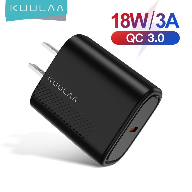 Củ sạc USB nhanh KUULAA PD 3.0 4.0 18W phích cắm loại C cho điện thoại