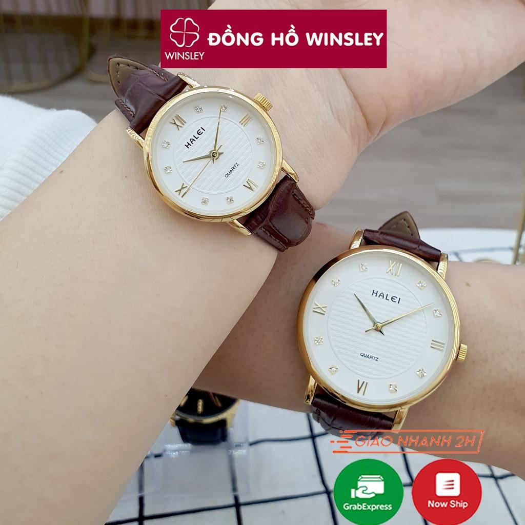 Đồng hồ đôi nam nữ đeo tay dây da Halei vân sóng giá rẻ thời trang