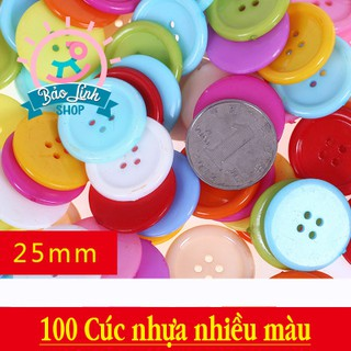 Cúc nhựa nhiều màu – Set 100 cúc size 25mm| Đồ chơi an toàn