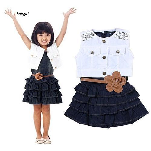 HKM1_Children Girls Summer Ruffle Dress + Vest Jacket + Flower Waist Belt Outfit Suits