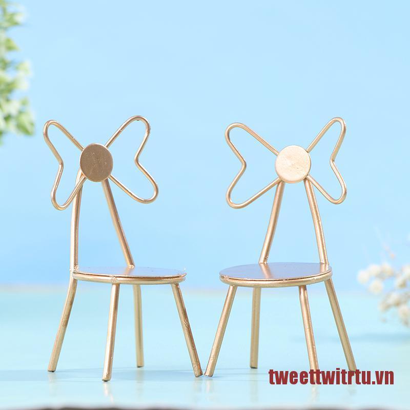 TRTU 1:12 Dollhouse Miniature Metal Chair Back Chair Butterfly Chair Doll Chair Toy