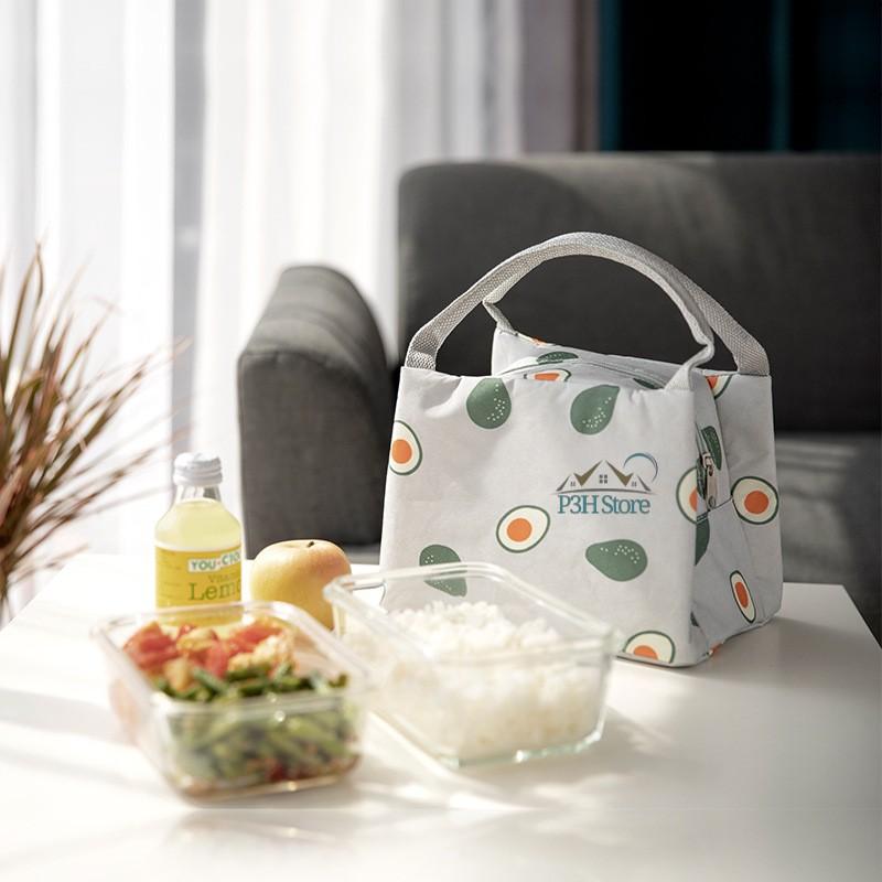 Túi giữ nhiệt túi đựng cơm hộp túi đựng đồ ăn có dây kéo tiện dụng P2353