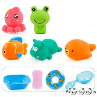 ⓗღ✯Bath Toys Pinch Music Animal Cartoon Image Paddling Water Spray Children´s Puzzle Toy Set Combination