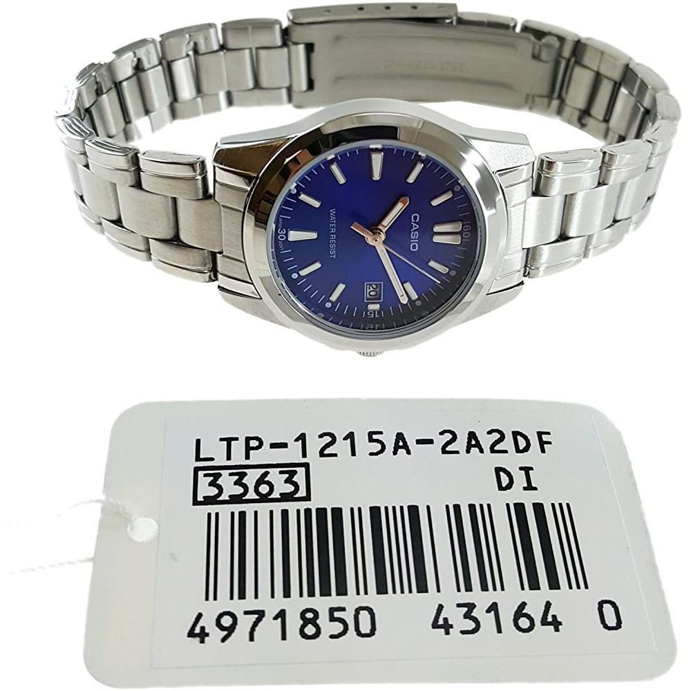 Đồng hồ nữ dây thép,mặt xanh chính hãng  Casio Anh Khuê LTP-1215A-2A2DF