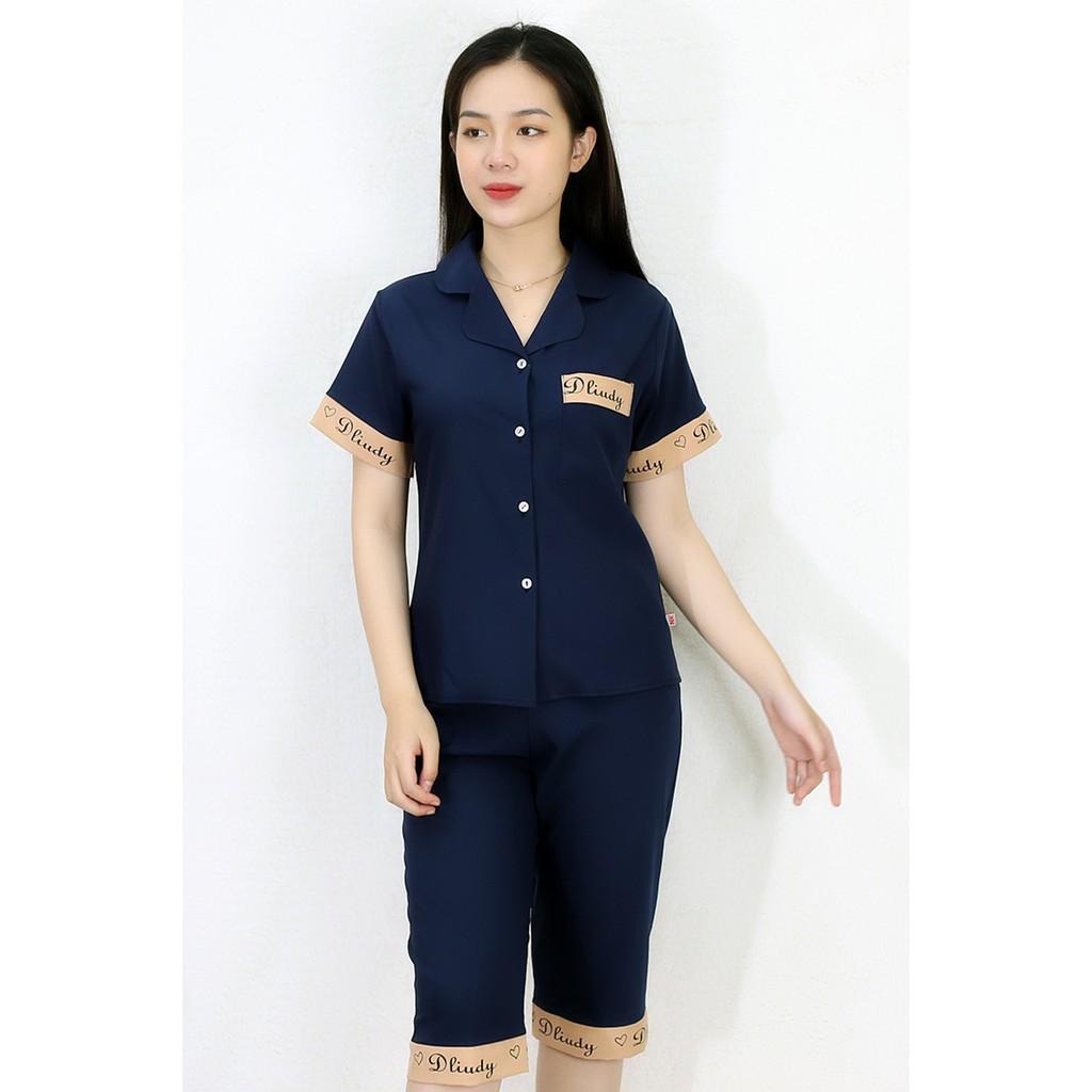 Mặc gì đẹp: Mát mẻ với [HÌNH THẬT 100%] Bộ đồ Pijama nữ lửng XANH ĐEN PHA CHỮ - vải siêu lụa cao cấp - Cực Kì Sang Chảnh
