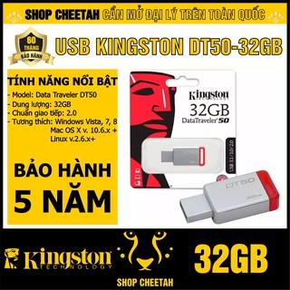 USB Kingston 32GB DataTraveler DT50 – Vỏ thép nguyên khối – Chịu va đập – Kháng nước – CHÍNH HÃNG – Bảo hành 5 năm